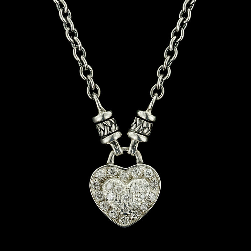 Scott Kay Sterling Silver Diamond Heart Pendant
