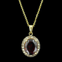 14K Yellow Gold Garnet and Diamond Pendant