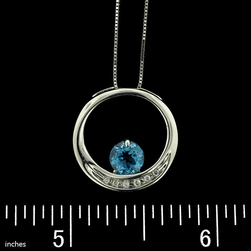 14K White Gold Blue Topaz and Diamond Circle Pendant