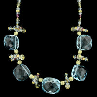 18K Yellow Gold Blue Topaz and Gemstone Bead Necklace