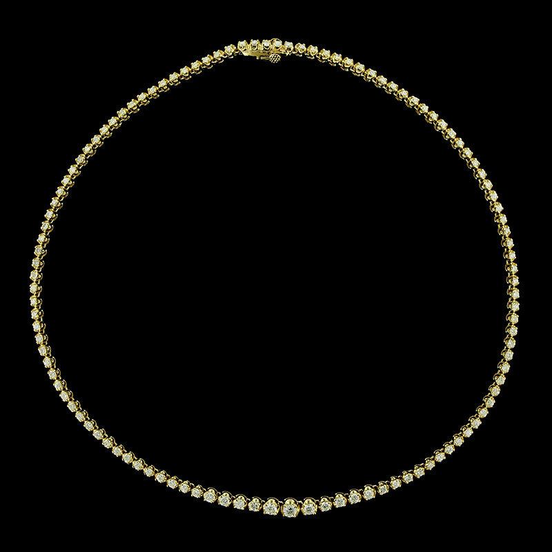 14K Yellow Gold Diamond Tennis Necklace