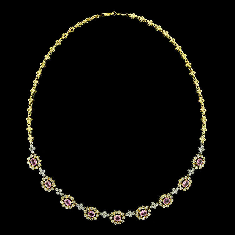 7b9d6aed5195b 30 Day Money Back Guarantee. 14K Two-tone Gold Pink Sapphire and Diamond  Necklace ...