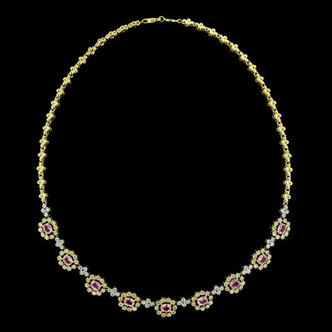14K Two-tone Gold Pink Sapphire and Diamond Necklace