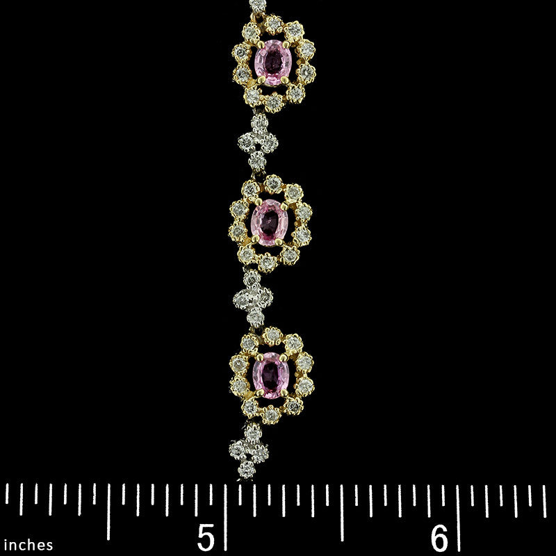 14K Two-Tone Gold Estate Pink Sapphire and Diamond Necklace