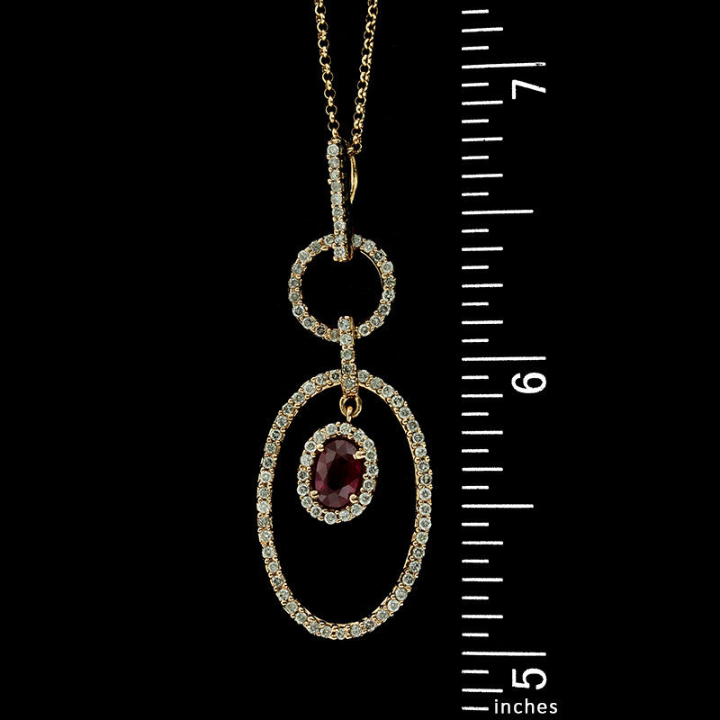 14K Rose Gold Estate Ruby and Diamond Pendant