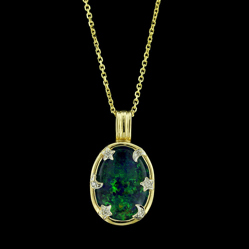 14K Yellow Gold Opal Triplet and Diamond Pendant