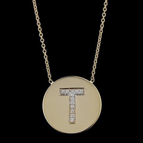 14K Yellow Gold Diamond Initial T Necklace