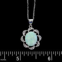 14K White Gold Opal and Diamond Pendant