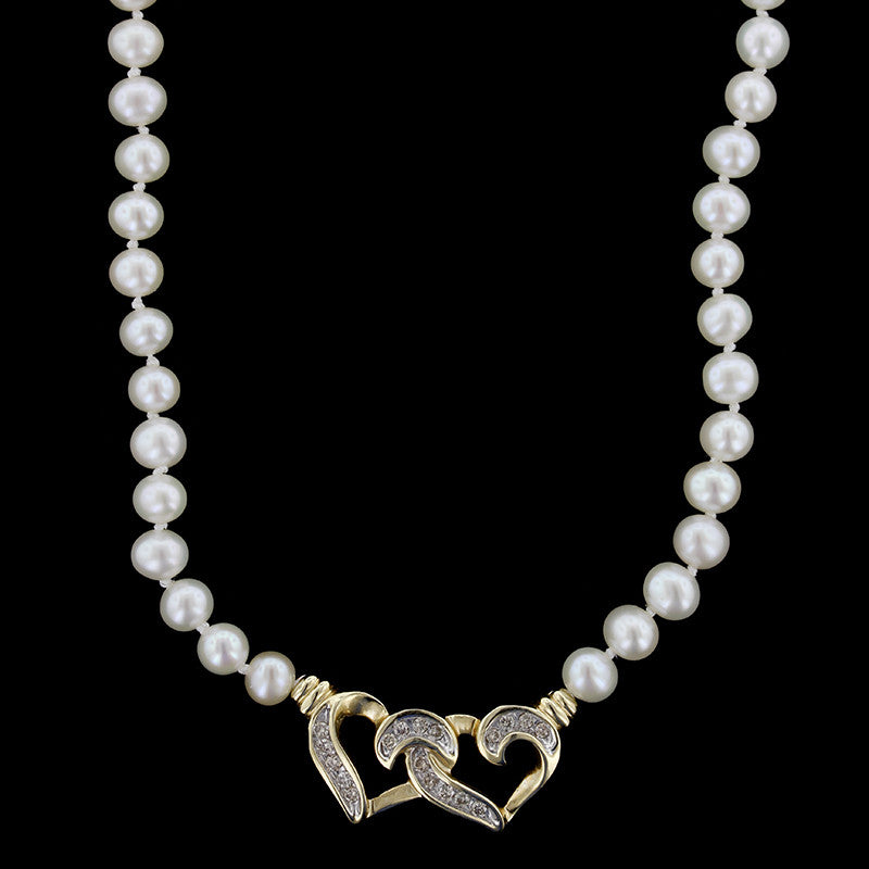 14K Yellow Gold Freshwater Pearl and Diamond Heart Necklace