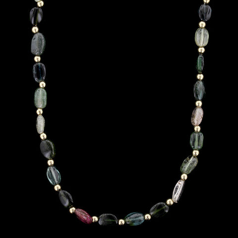 14K Yellow Gold Tourmaline Bead Necklace