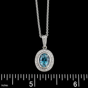 18K White Gold Blue Zircon and Diamond Pendant