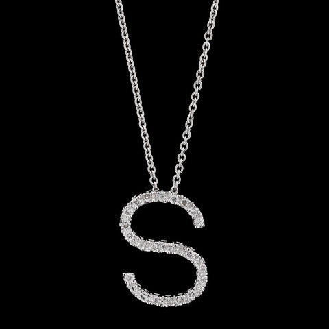 18K White Gold Diamond Initial S Pendant