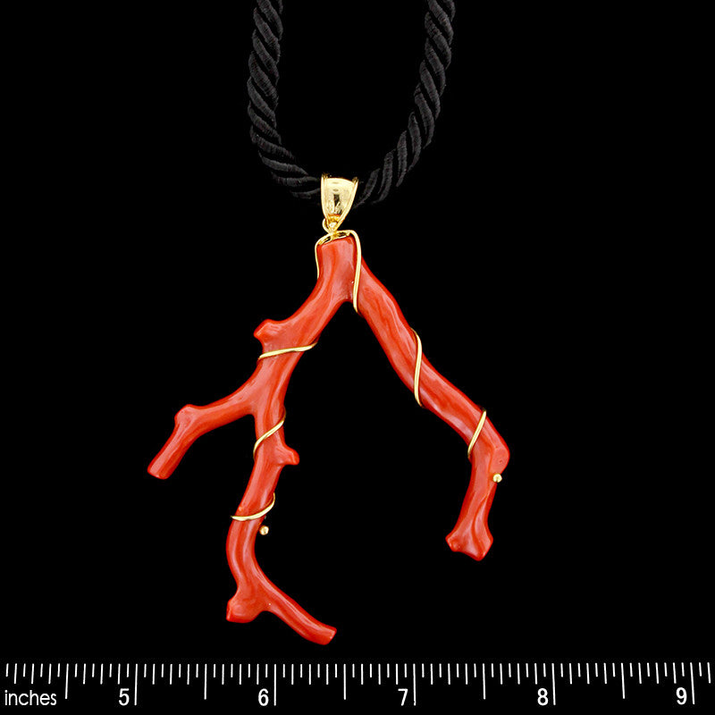18K Yellow Gold Coral Branch Pendant