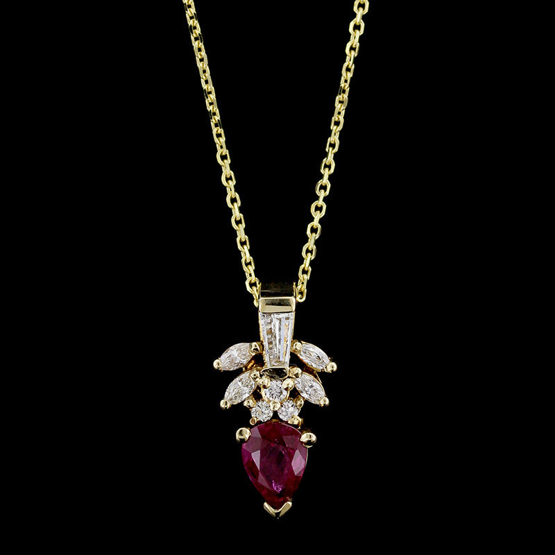 14K Yellow Gold Ruby and Diamond Pendant Enhancer
