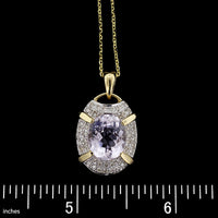14K Yellow Gold Kunzite and Diamond Pendant