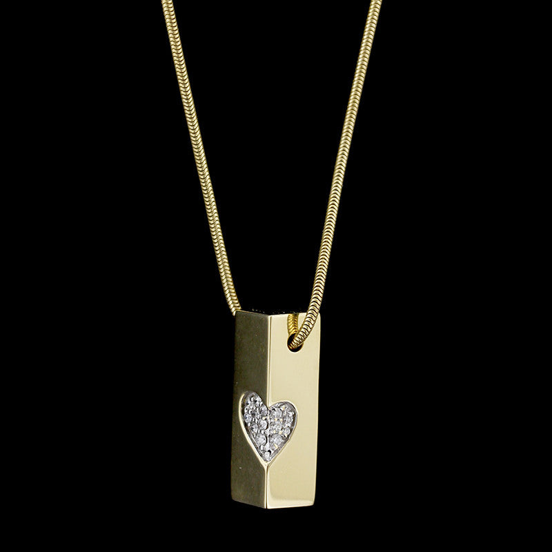 Movado 18K Yellow Gold Diamond Heart Necklace