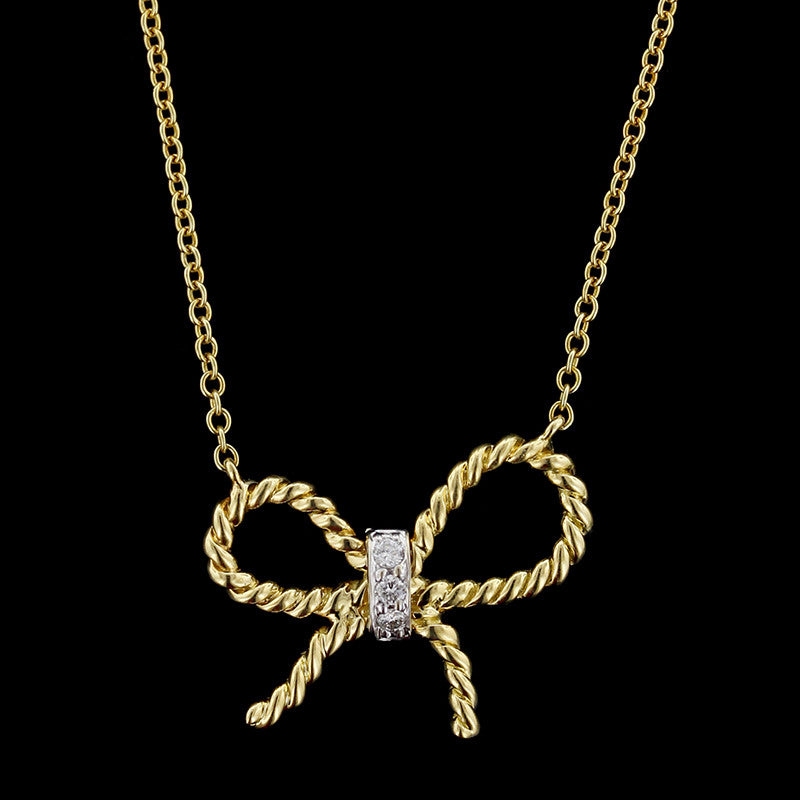 Vera Wang 18K Yellow Gold Diamond Bow Pendant