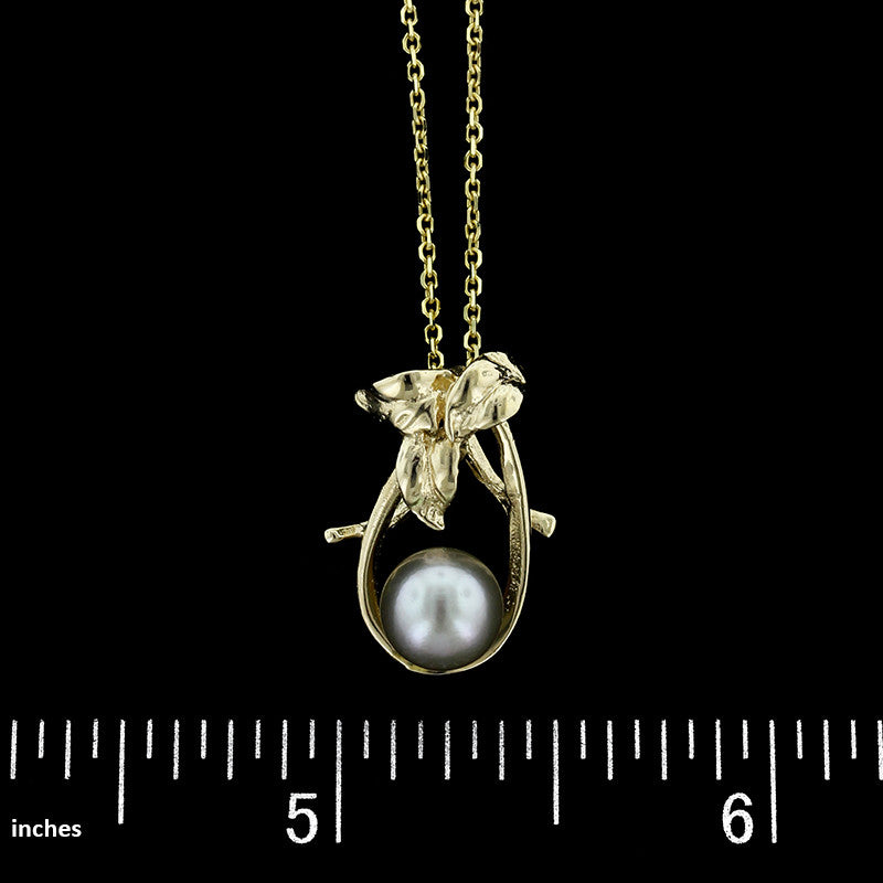 14K Yellow Gold Estate Grey Cultured Pearl Pendant