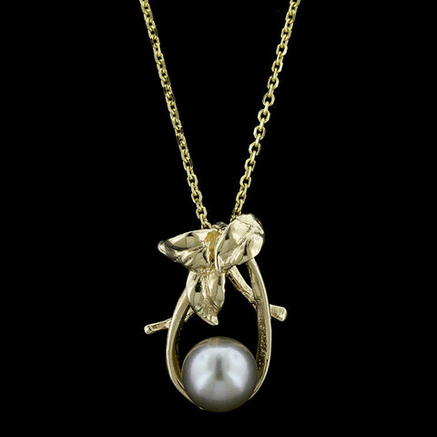 14K Yellow Gold Grey Pearl Pendant