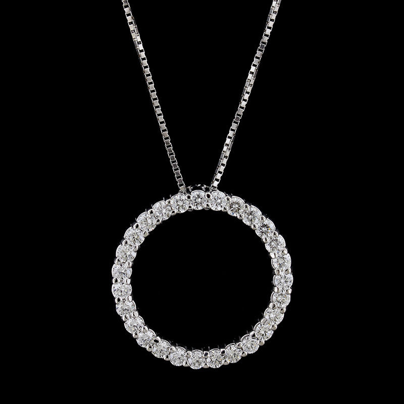14K White Gold Diamond Circle of Life Pendant