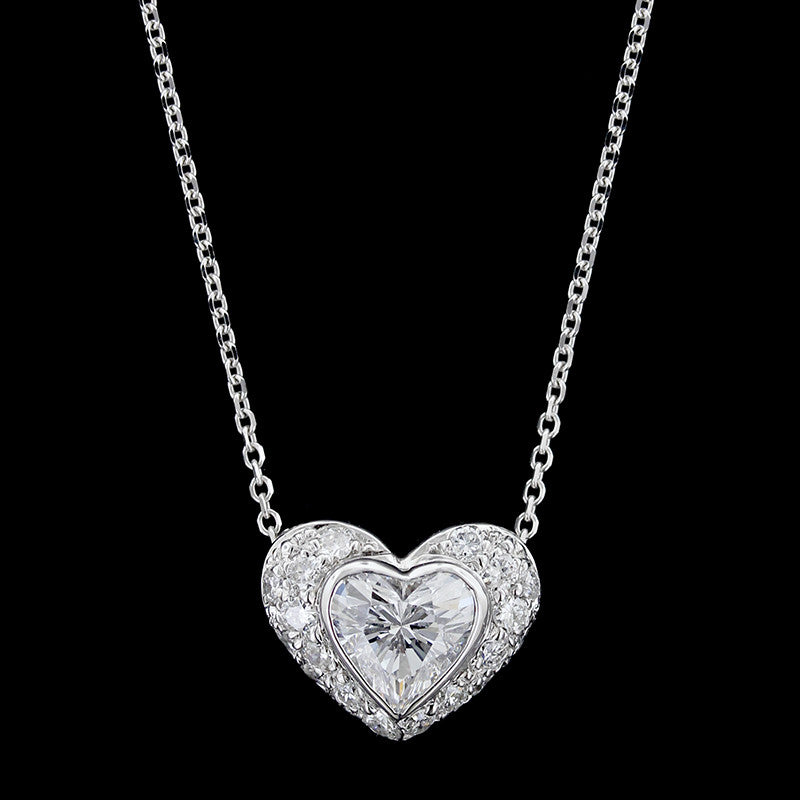 14k white gold diamond heart pendant longs jewelers 14k white gold diamond heart pendant aloadofball Images