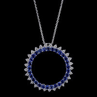 18K White Gold Sapphire and Diamond Circle Pendant