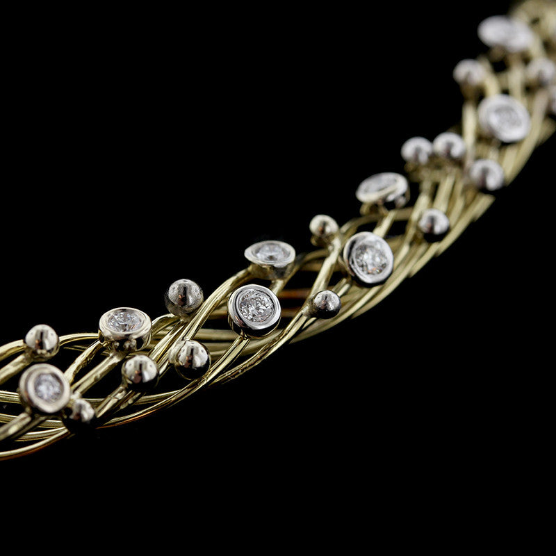 18K Two-Tone Gold Woven Diamond Necklace