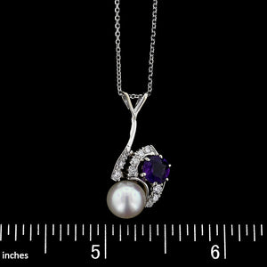 14K White Gold Estate Amethyst, Cultured Pearl and Diamond Pendant