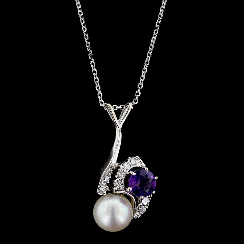 14K White Gold Amethyst, Pearl and Diamond Pendant