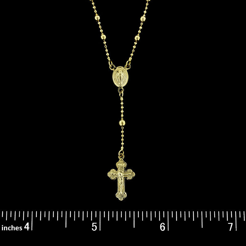14K Yellow Gold Rosary Bead Necklace