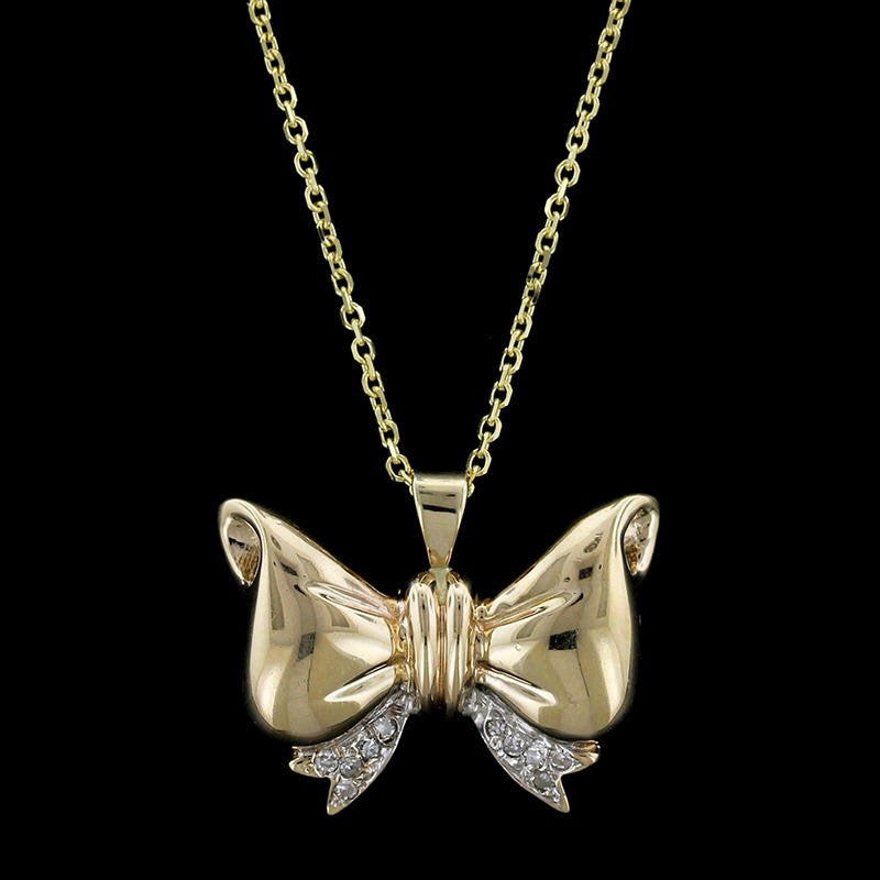 14K Yellow Gold Bow Pendant