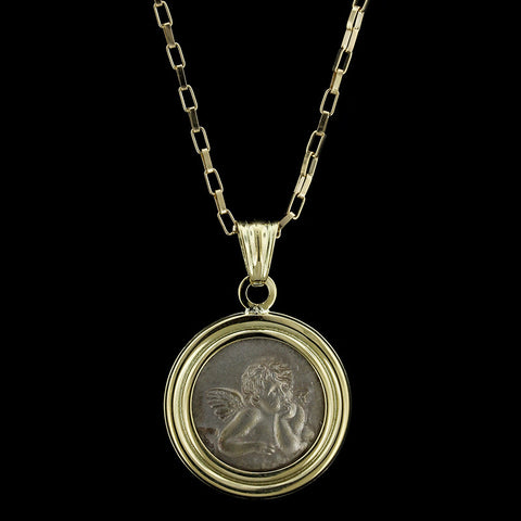 18K Yellow Gold Cherub Pendant