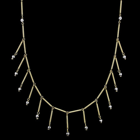 14K Two-tone Gold Frindge Necklace