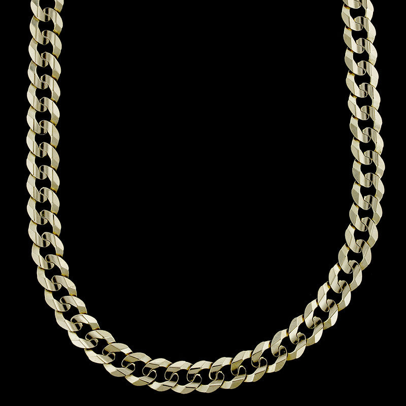 14K Yellow Gold Concave Curb Link Chain