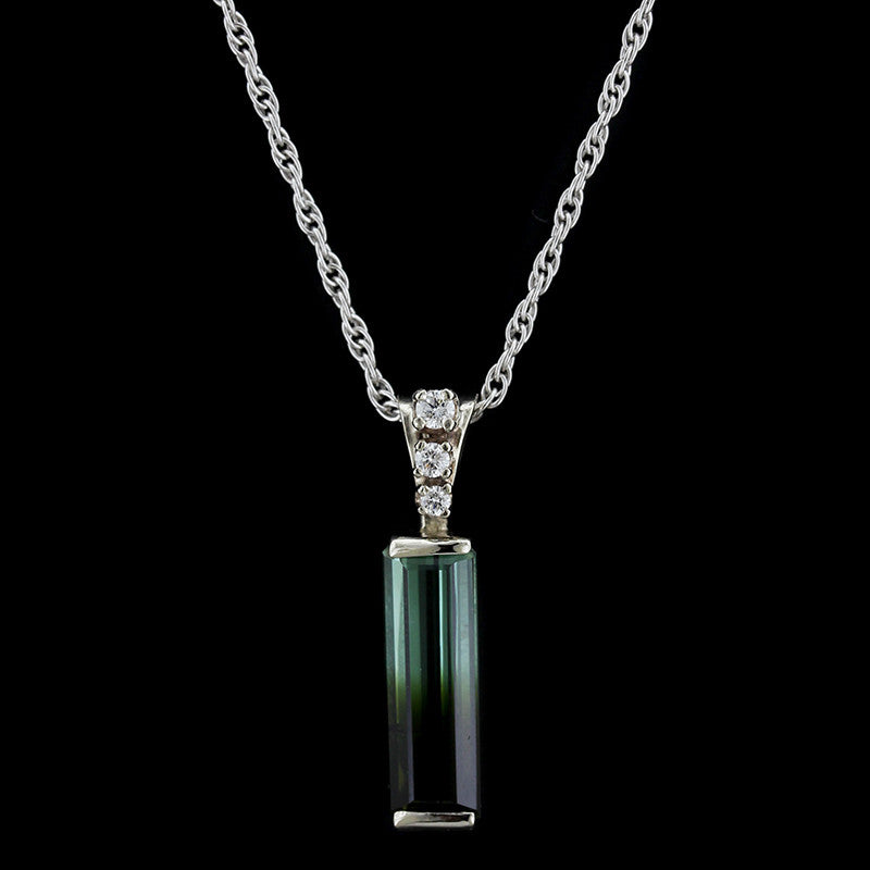 14K White Gold Tourmaline and Diamond Pendant