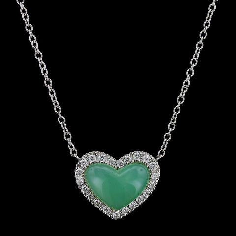 Zydo 18K White Gold Chrysoprase and Diamond Heart Pendant