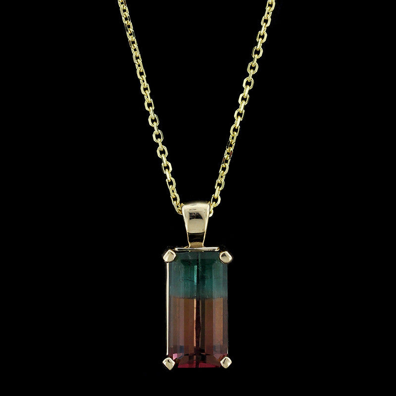 14K Yellow Gold Bi Color Tourmaline Pendant