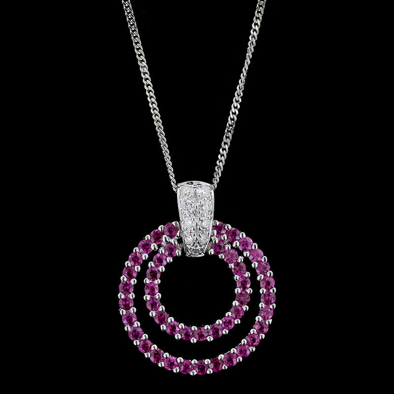 18k white gold pink sapphire and diamond circle pendant longs 18k white gold pink sapphire and diamond circle pendant mozeypictures Image collections