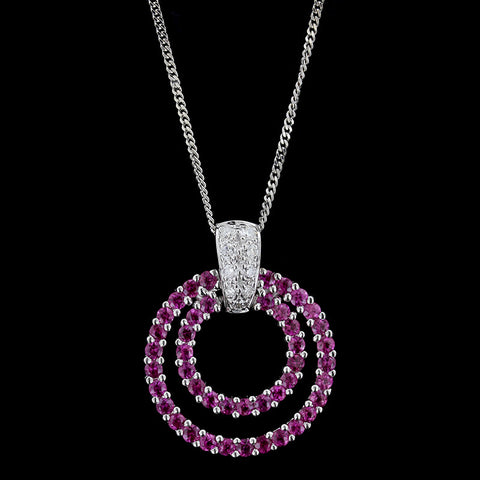 18K White Gold Pink Sapphire and Diamond Circle Pendant
