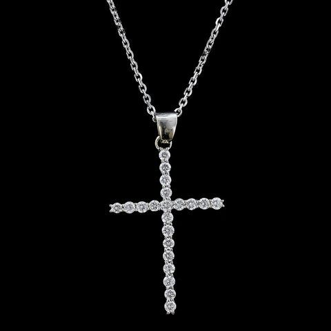 18K White Gold Diamond Cross