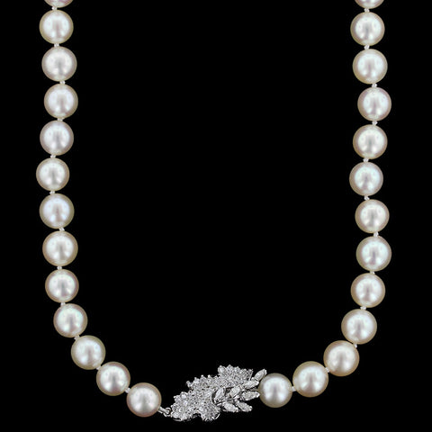 18K White Gold Diamond Cultured Pearl Necklace