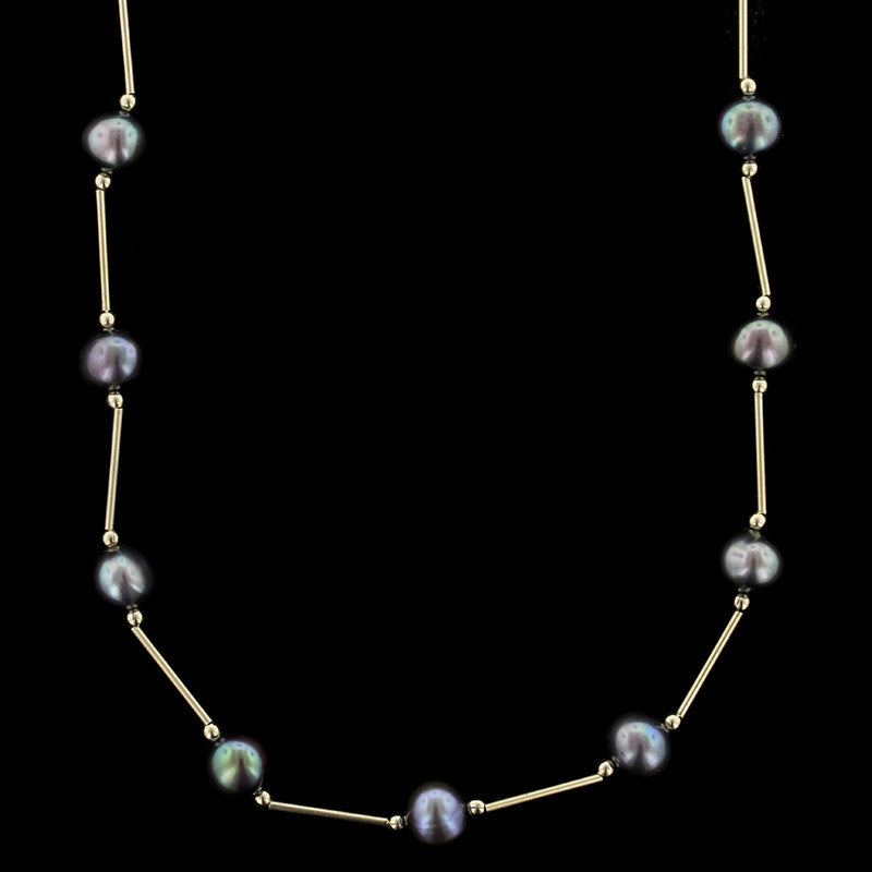14K Yellow Gold Freshwater Black Pearl Necklace