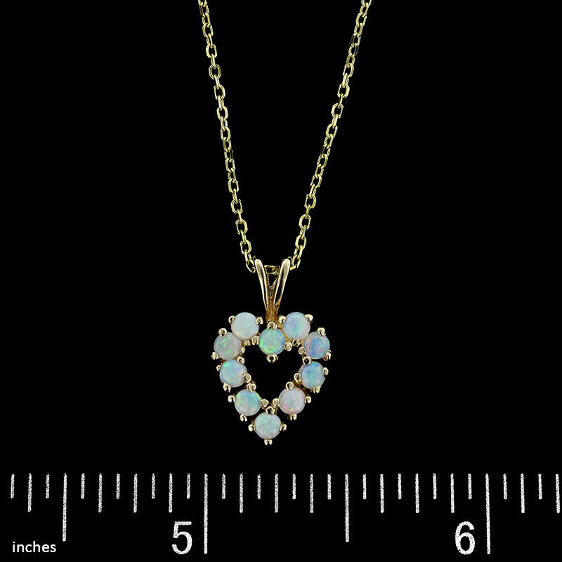 14K Yellow Gold Opal Heart Pendant