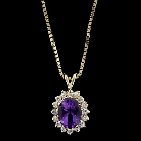 14K Yellow Gold Amethyst and Diamond Pendant