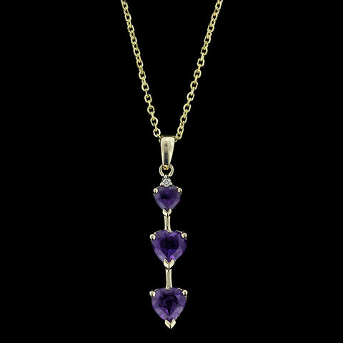 14K Yellow Gold Amethyst Three Stone Pendant