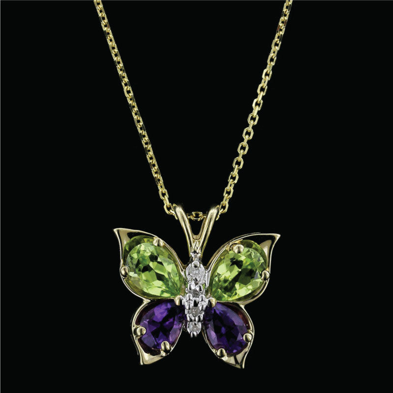 14K Yellow Gold Amethyst, Peridot and Diamond Butterfly Pendant