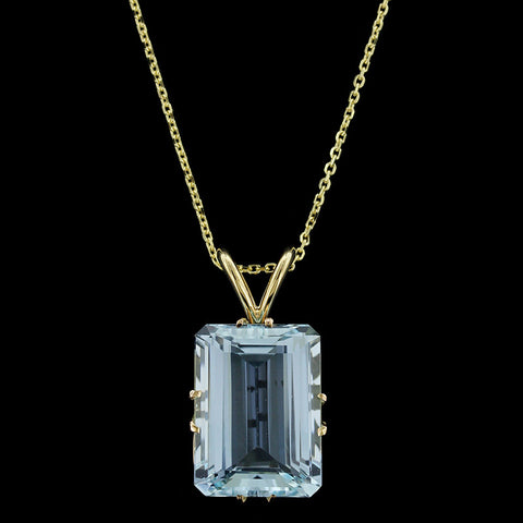 14K Yellow Gold Aquamarine Pendant