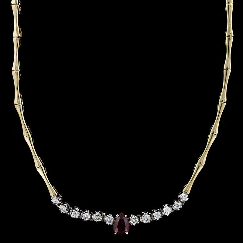 14K Two-tone Gold Ruby and Diamond Necklace