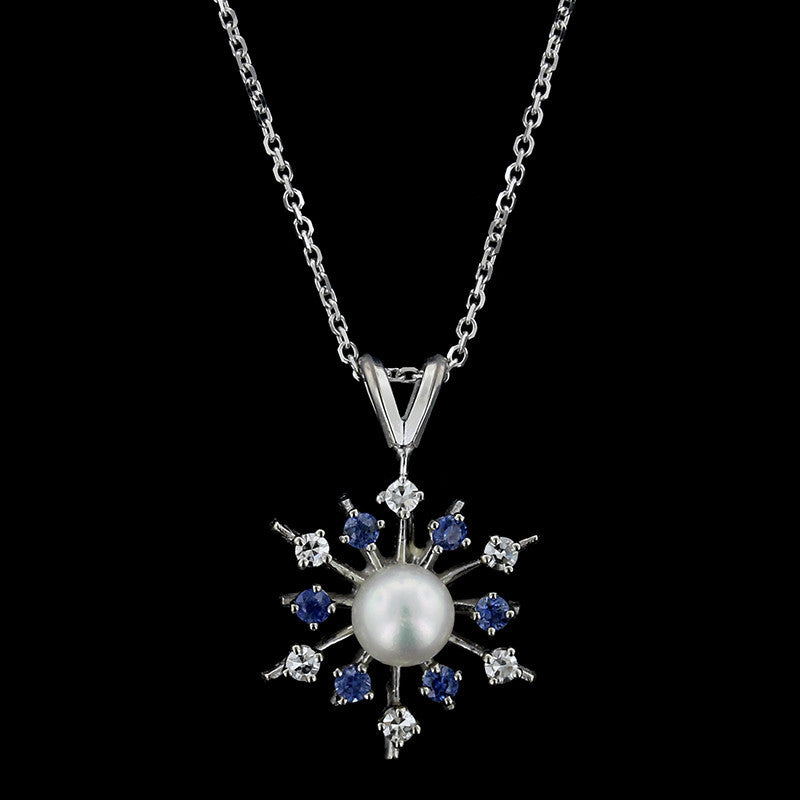 14K White Gold Cultured Pearl, Sapphire and Diamond Pendant