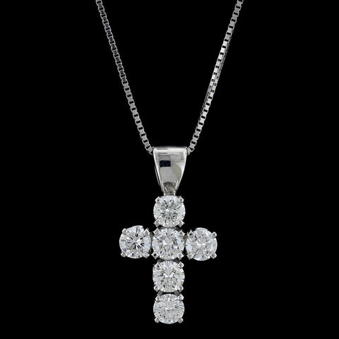 14K White Gold Diamond Venus Female Symbol Pendant